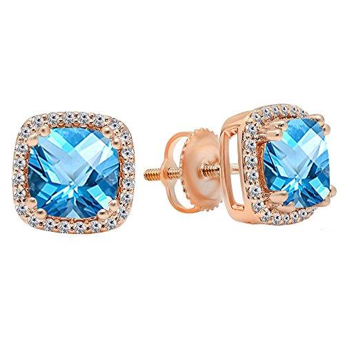 14K Rose Gold Each 6.5 MM Cushion Cut Blue Topaz & Round Cut White Diamond Ladies Stud Earrings
