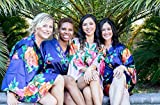 Navy Blue Satin Floral Watercolor Bridesmaid Robes