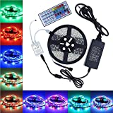 LED Strip Lights, GHONLZIN 16.4ft/5m SMD 5050 IP65 Waterproof RGB Flexible Light Strip Kit IR 44 Key Remote RGB Controller, Strengthen 3M Tape, 12V 5A Power Supply Indoor Outdoor