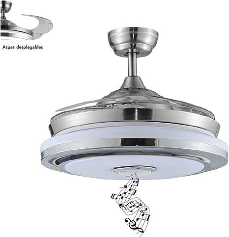 TODOLAMPARA - Ventilador DE Techo LED Modelo Solano con Altavoz ASPAS Plegables: Amazon.es: Hogar