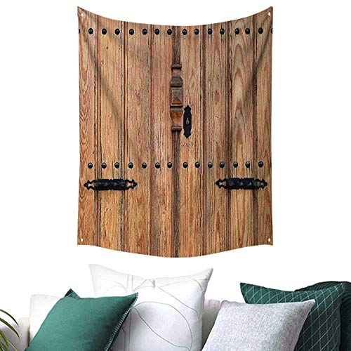 Anshesix Rustic Home Decor Tapestry Wooden Door with Iron Style Padlock Gate Exit Enclosed Space of Building Picture Festival Flags 60W x 91L INCH Pale Brown
