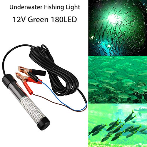 12V LED 1000 Lumens Lure Bait Finder Night Fishing Finder Crappie Shad Boat LED Submersible Underwater Light with Battery Clip and Power Plug 6M Power Cord (180LED/10.8WGreen)