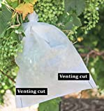GardeningEZ 50 reusable fabric fruit grape protection bags with 2 venting openings. 9 1/2'' X 13 1/2'' prevent birds and bugs. Easy install with twist wire