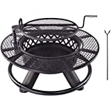 "Kapler Fire Pit Burning Wood with Cooking Grill,Fire Pit Grill for Camping Ranch Family Fire Pit Enjoy Life (26.5""x30…"