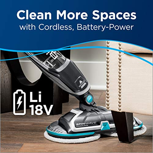 BISSELL Spinwave Cordless Hard Floor Mop, Wood Floor Cleaner and Buffer, Silver, 2307