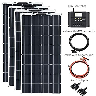 XINPUGUANG 400W Flexible Solar Panel 4x100 System Kits Solar Module Monocrystalline Cell 40A Solar Charger Controller for Car RV Boat