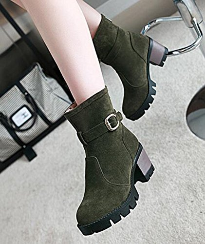 Womens Mid Green Suede Fashion Zipper Ankle Chunky Platform Heels IDIFU Boots Faux With d0qt17xdw