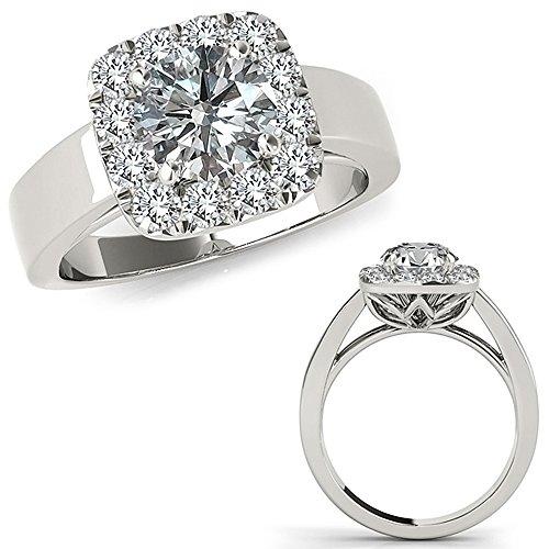 1.75 Carat G-H Diamond Lovely Classy Cushion Halo Promise Bridal Set Wedding Band Ring 14K White Gold -
