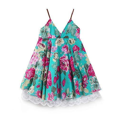 LittleSpring Toddler Girls Beach Dress Sleeveless Lace Floral Dress 3T Mint Green Summer
