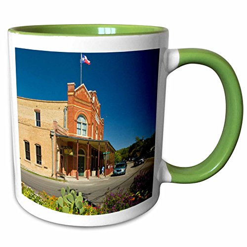 3dRose Danita Delimont - Texas - Historic Dancehall, Gruene, New Braunfels, Texas, USA - US44 LDI0931 - Larry Ditto - 11oz Two-Tone Green Mug - Braunfels New Outlet