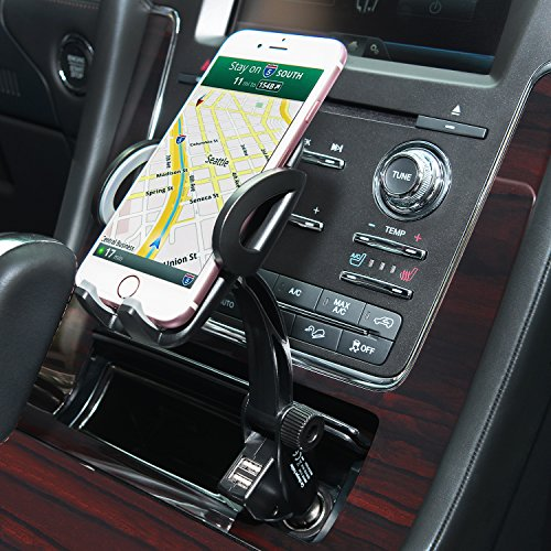 Amoner Car Phone Mount, Universal 3-in-1 Cigarette Lighter Car Phone Holder Cradle with 360 Degree Rotation for iPhone X 8 7 6 6S Se 5S Samsung Galaxy S9 S8 S7 S6 S5 GPS HTC LG Sony Nexus Motorola