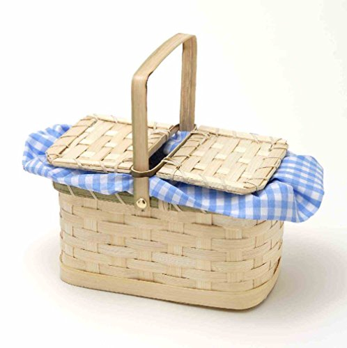 Adult Hand Bag Weaved Straw Basket Blue Plaid Checkered Costume Accessory Prop