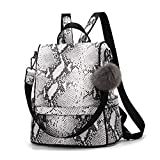 Women Backpack Purse Anti-theft Back Zipper Should bag Snakeshin PU Leather Casual Travel Daypack(White)