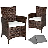TecTake 2 x Poly rattan garden chairs ALUMINIUM FRAME armchair set + cushions + 2 sets for exchanging the upholstery, stainless steel screws - different models - (Black-Brown)