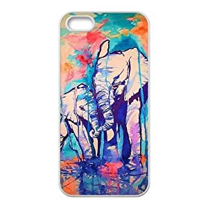 Colorful Elephant Personalized Cover Case with Hard Shell Protection for Iphone 5,5S Case lxa#272902