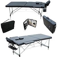 MERVY- CADEAU NOEL - PRIX IMBATTABLE - Table de massage pliante 2 zones en aluminium avec panneau Reiki + accessoires et housse de transport - 2 coloris - Norme CE * noire
