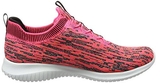 Skechers Womens Ultra Flex Bright Horizon Sneaker Rosa / Nero
