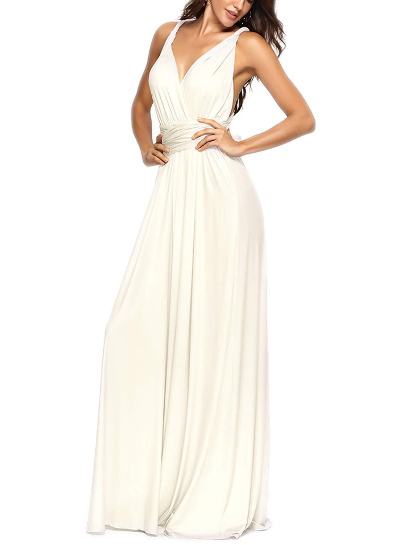 PERSUN Women's Convertible Multi Way Wrap Maxi Dress Long Party Grecian Dresses White by PERSUN