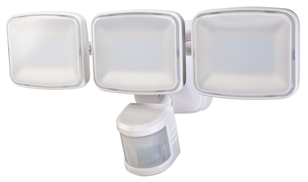 Heath Zenith HZ-5833-WH LED Motion Activated Security Light 3000 Lumen Triple Lamp Head 240 Degree Detection Zone up to 70 ft. , White
