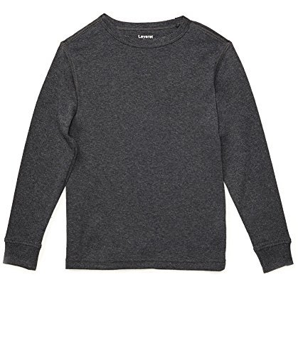 Leveret Long Sleeve Solid T-Shirt 100% Cotton (12 Years, Dark - Grey Solid Dark