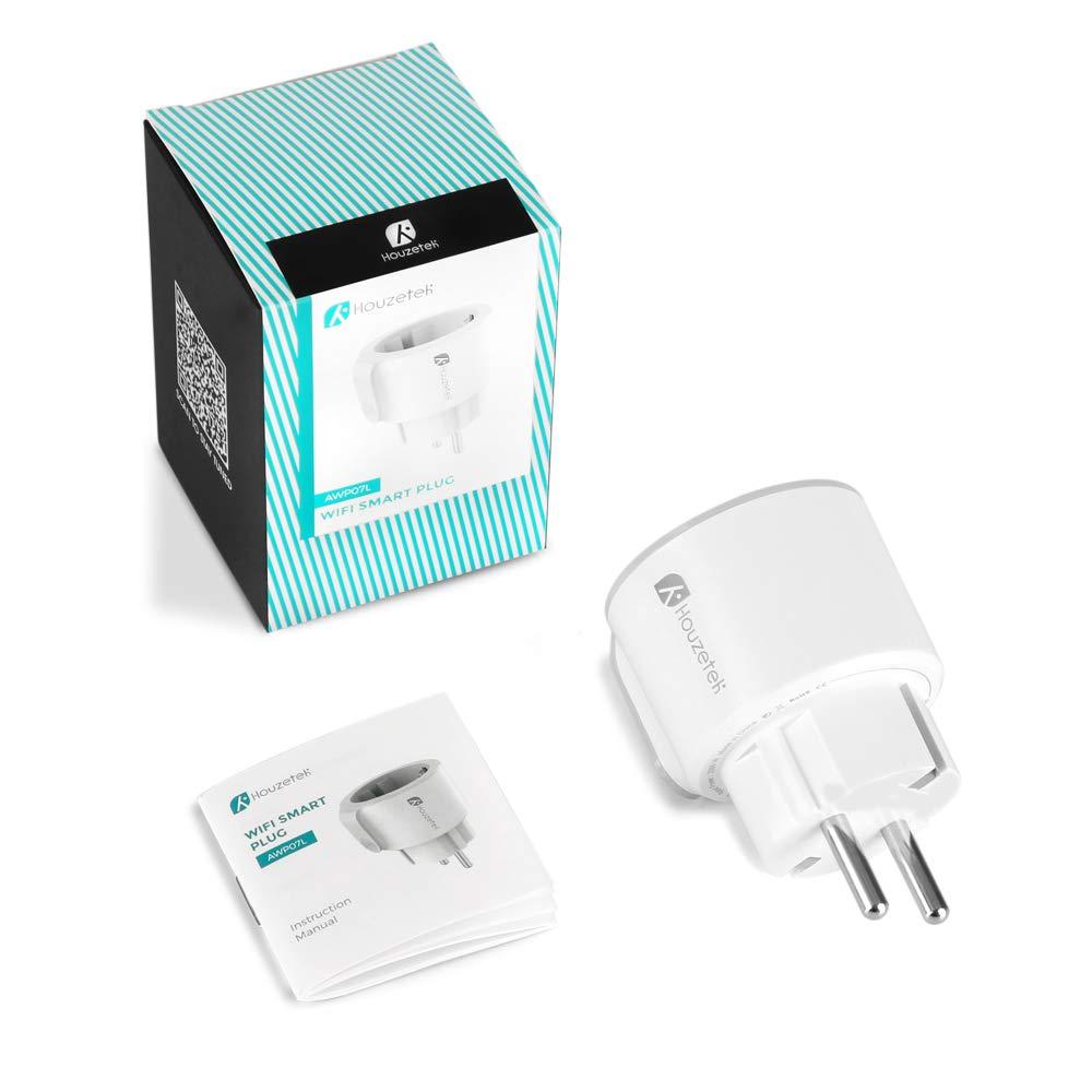 Houzetek Enchufe Wifi Inteligente con APP soporte Google Home Enchufe Programable Wifi IFTTT de Control Remoto por Voz 2 Packs Enchufe Inteligente Dom/ótica Enchufe Wifi para Hogar Inteligente