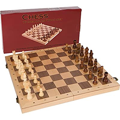 Alina Chess Inlaid Wood Folding Board Game with Pieces and Tray - Ranks and Files Board (Numbers and Letters on Side) - 16 Inch Set