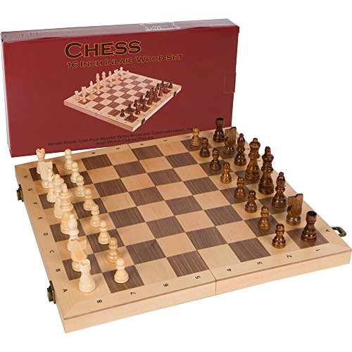 Alina Chess Inlaid Wood Folding Board Game with Pieces and Tray - Ranks and Files Board (Numbers and Letters on Side) - 16 Inch Set ()