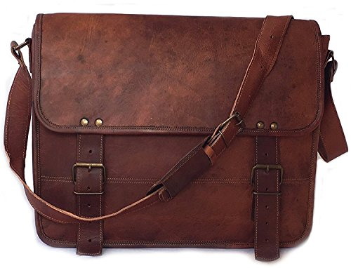 Leather Messenger Handmade Bag Laptop Bag Satchel Bag Padded Messenger Bag School Bag 16X12X5 Inches Brown By Vintage Couture by VINTAGE COUTURE