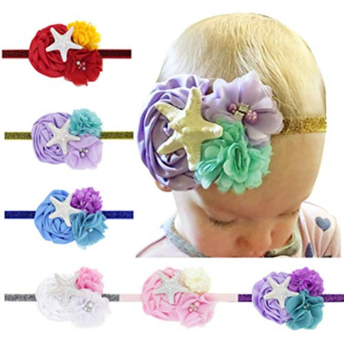 CaJaCa Baby Girl Nylon Elastic Knotted Headbands Newborn Infant Turban Soft Hairbands and Bows Hair Accessories (R01) ()