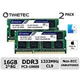 Timetec Hynix IC Apple Compatible 16GB Kit (2x8GB) DDR3 1333MHz PC3-10600 SODIMM Memory Upgrade For MacBook Pro 13-inch /15-inch /17-inch Early/Late 2011, iMac 21.5-inch Mid/Late 2011,27-inch Mid 2010/2011, Mac mini Mid 2011/ Server (16GB Kit (2x8GB))