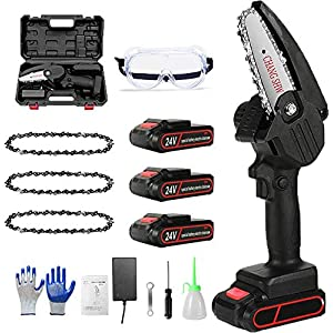 Mini Chainsaw Electric Cordless Battery Chainsaws with 2Pcs Batteries 4 Chains, Portable Rechargeable Pruning Saw…