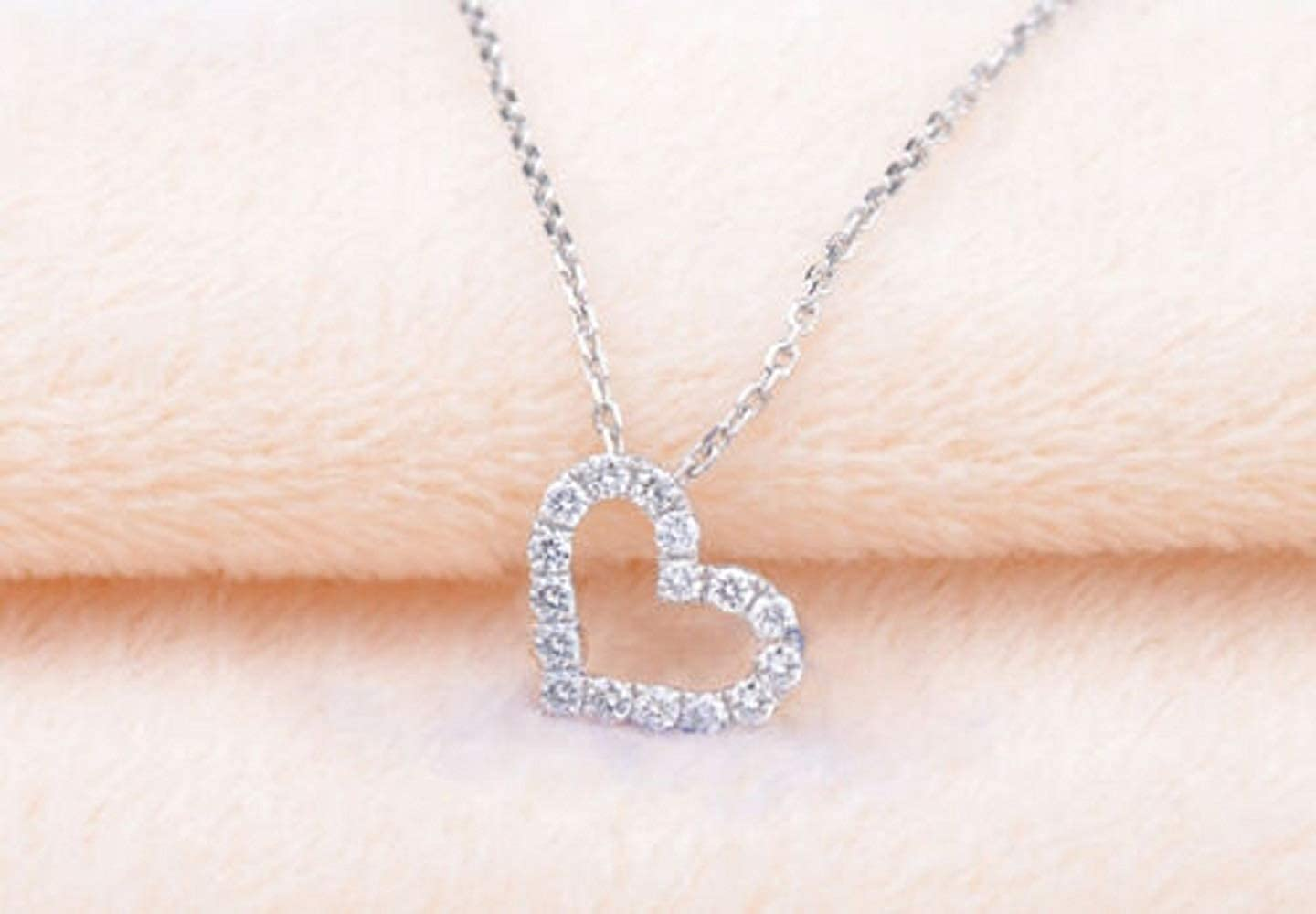 0.20 Ct Round Cut Simulated Diamond Heart Pendant With 18 Chain In 14K White Gold Plated .925 Silver