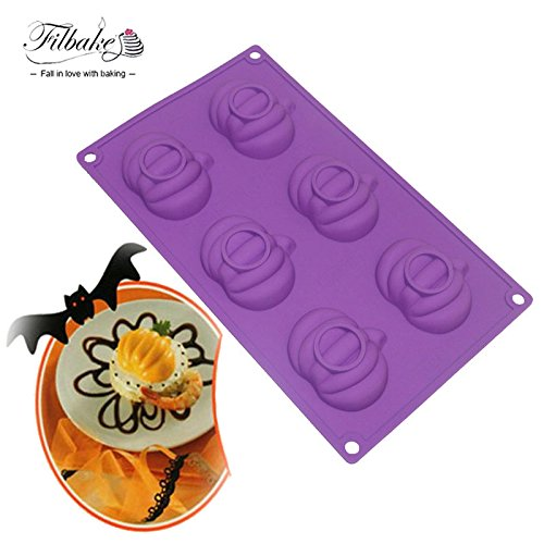 Star-Trade-Inc - 6 Hole Pumpkin Shaped Halloween Supply Baking Tools Silicone Molds for Muffin Brownie Cake Pudding and Jello