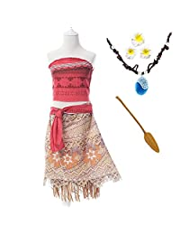 Moana Girls Adventure Outfit Cosplay Costume Skirt Set with Necklace&flower