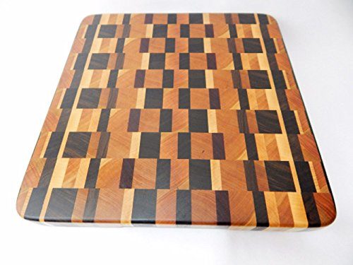 Handcrafted Wood Cutting Board - End Grain - Walnut, Cherry, Purpleheart and Maple. Amazing patterned wood cutting board! For chef or cook!