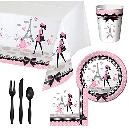 Cedar Crate Market Party in Paris Tableware Party Bundle for 16: Includes Plates, Napkins, Cups, Tablecover, and Cutlery