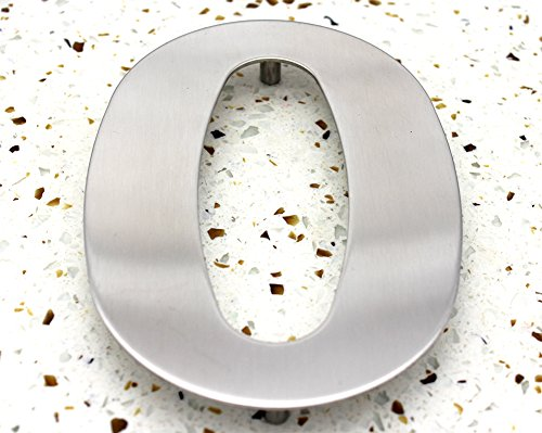 ZW Hardware SS100 12 Inch 304 Stainless Steel Brushed Stainless Steel Large House Number 0 (Best House Number Numerology)