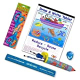 Left-handed School Supplies for Kids Under 8 (Scissors, Ruler, Pencils and More) 9 Pc. Set; Blue & Green