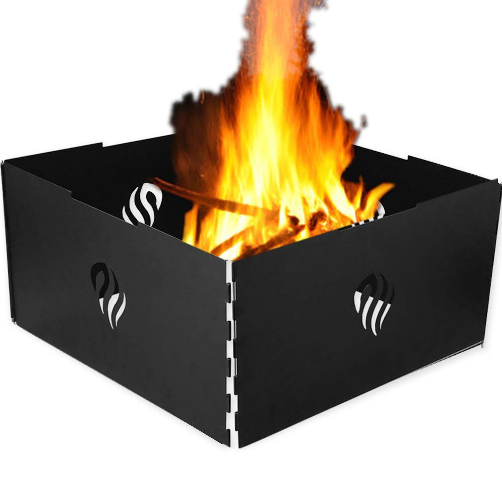 Stackable Heavy Iron And Finished With High Temperature Paint Black Silverhero Outdoor Foldable Campfire Fire Pit Ring 4 Panels With Carry Bag Fire Rings Kolenik Patio Lawn Garden