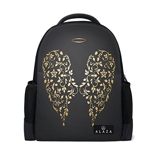 ALAZA Angel Golden Wings and Halo Black Polyester Backpack School Bag for Teen Boy Girl ()