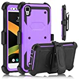USHAWN LG X Style case, LG Tribute HD Case, Full Body Shockproof Heavy Duty Armor Protective Case Cover with Belt Swivel Clip for LG X Style / Tribute HD / LS676 (Purple)
