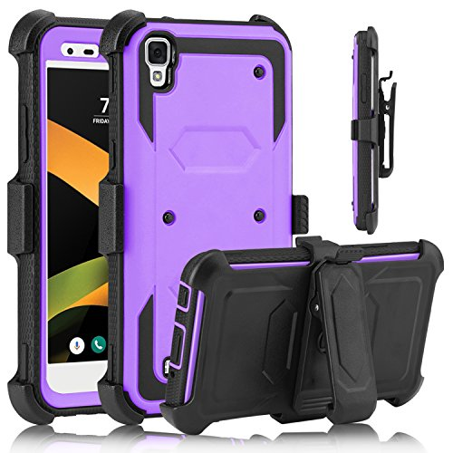 USHAWN LG X Style case, LG Tribute HD Case, Full Body Shockproof Heavy Duty Armor Protective Case Cover with Belt Swivel Clip for LG X Style / Tribute HD / LS676 (Purple) by USHAWN