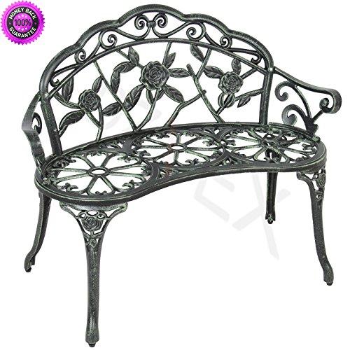 Cheap  DzVeX Outdoor Patio Garden Bench Park Yard Furniture Cast Iron Antique Rose..