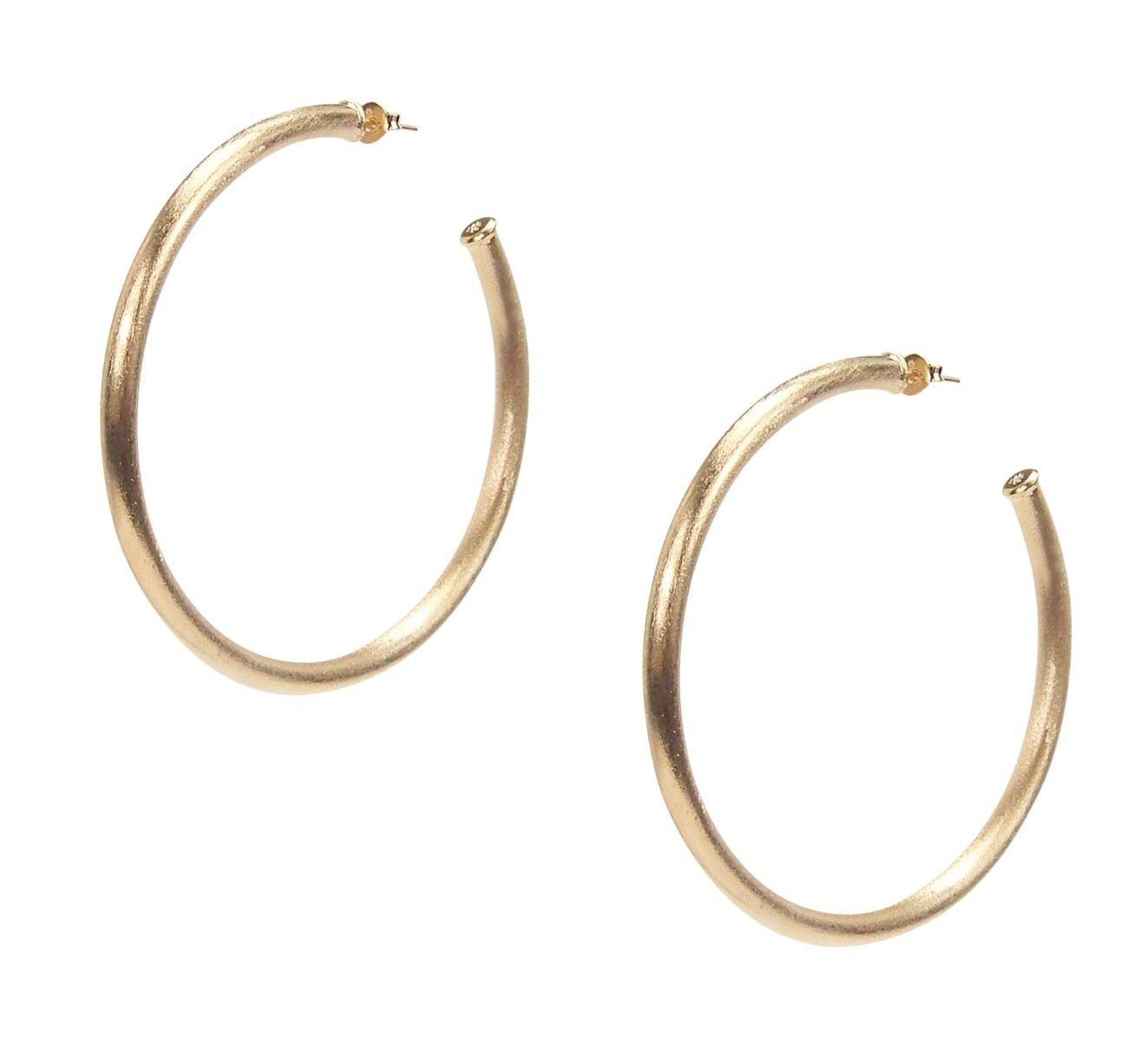 Sheila Fajl Everybody's Favorite 2.25'' Tubular Hoop Earrings in Brush Champagne