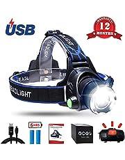 AUKELLY Stirnlampen LED USB Stirnlampe Wasserdicht LED Kopflampe USB Wiederaufladbare,3 Lichtmodi 1000 Lumen Super Hell Kopflicht Stirnlampen, Perfekt für Camping,Enthält eine 18650 Batterie