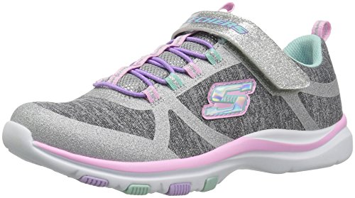 Skechers Kids Girls' Trainer LITE- Jazzy Jumper Sneaker, GYMT, 13 Medium US Little by Skechers