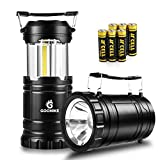 COB LED Camping Lantern Flashlights-350 Lumen Ultra Bright 2-In-1 Portable Collapsible Lantern With 6 AA Batteries for Emergencies, Outages, Hurricanes, Storms