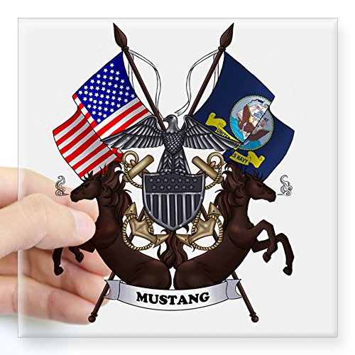 Navy Mustang - CafePress Navy Mustang Emblem Square Sticker 3 X 3 Square Bumper Sticker Car Decal, 3