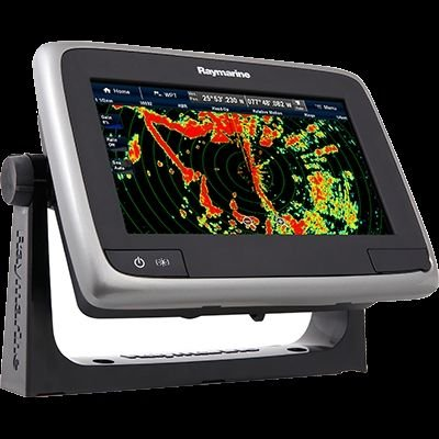 """Raymarine a78 Multifunction Display with CPT-100DVS Transom Mount Transducer & Lighthouse Navigation Chart, 7"""" primary"""