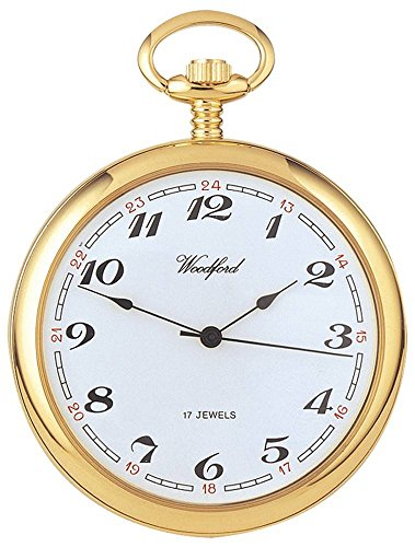 (Woodford Mens Gold Plated Arabic Open Face Mechanical Pocket Watch - Gold)
